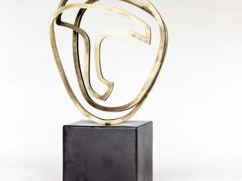 Gidon Bing - brass sculpture - Cycladic Face 1