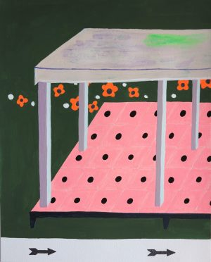 Michelle Weiberg - painting - green house left and right