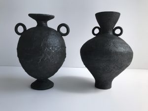 Katarina Wells - Burnt Charcoal Amphora 5 - Ceramic Sculpture