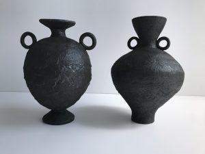 Katarina Wells - Burnt Charcoal Amphora 5 - Ceramic Sculpture