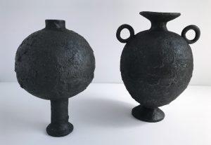 Katarina Wells - Burnt Charcoal Long Stemmed Vase - Ceramic Sculpture