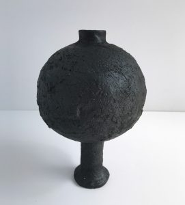 Katarina Wells - Burnt Charcoal Long Stemmed Vase - Ceramic Sculpture