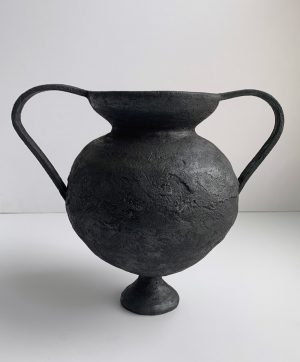 Katarina Wells - Wide Handle Amphora Burnt Charcoal - Ceramic Sculpture