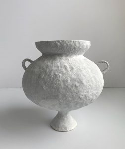 Katarina Wells - Small Handled Amphora Chalk - Ceramic Sculpture