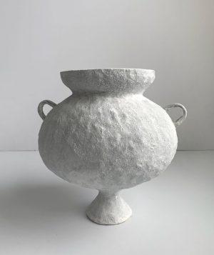 Katarina Wells - Small Handled Amphora Chalk - Ceramic Sculpture
