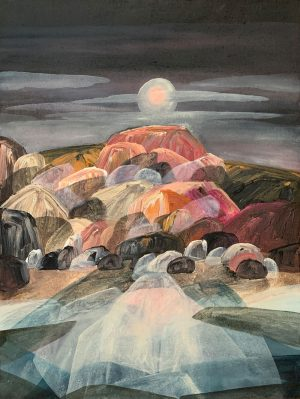 Ingrid Daniell - The Temple Of Earth Basking In The Moon Glow - Landscape Painting