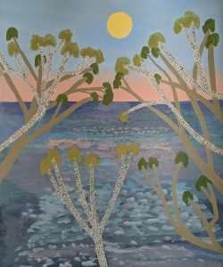 Ileigh Hellier - Full Moon Over Ocean - Oil Landscape