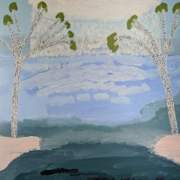 Iliegh Hellier - Rain Over Lagoon - Oil Landscape