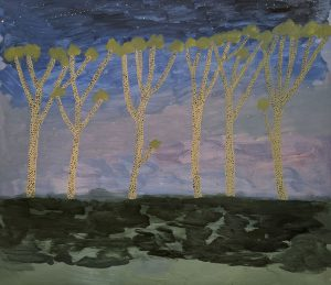 Ileigh Hellier - Trees At Night - Landscape Painting