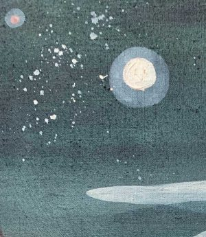 Ingrid Daniell - The Moon And Mars In A Midnight Hang, Stars Tumble From The Sky - Landscape Painting
