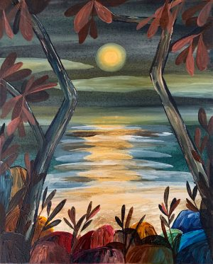 Ingrid Daniell - Golden Moon Rising Out Of The Tasman Sea - Painting