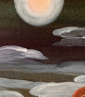 Ingrid Daniell - Mars hung like a beauty spot, under the full moon - Painting